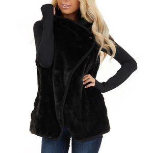 Jackets & Blazers - Soft fluffy black vest